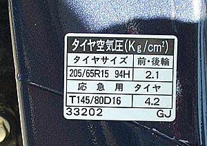 Табличка с рекомендованными размерами резины и давлением в шинах