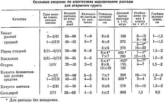 Таблица срока посева семян на рассаду