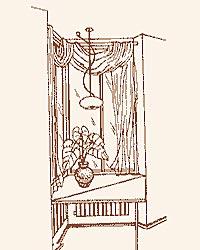 Уютный маленький столик у подоконника