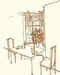 Обеденный стол у подоконника